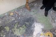 Очистка черного пятна на полу. Четко просматриваются границы